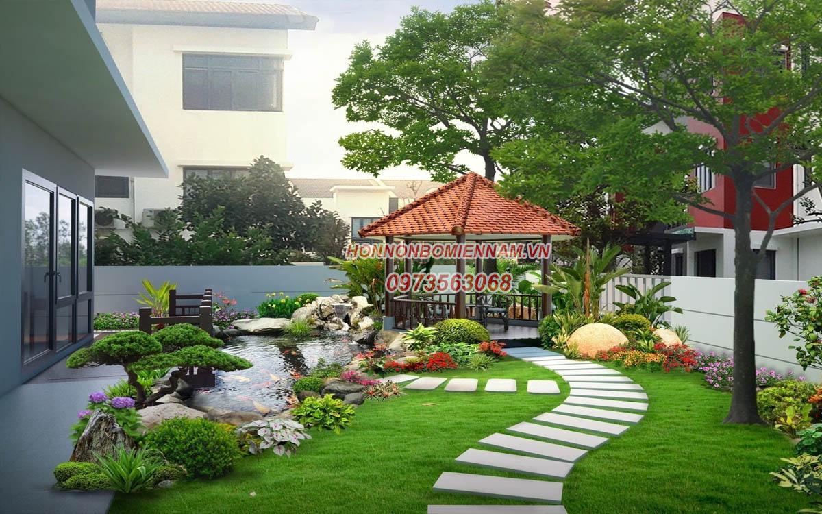 Thiết kế thi công tiểu cảnh sân vườn tại Bình Phước. Ảnh: 1