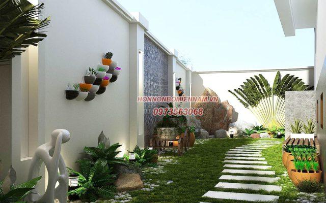 Tiểu cảnh sân vườn hiện dại dành cho biệt thự