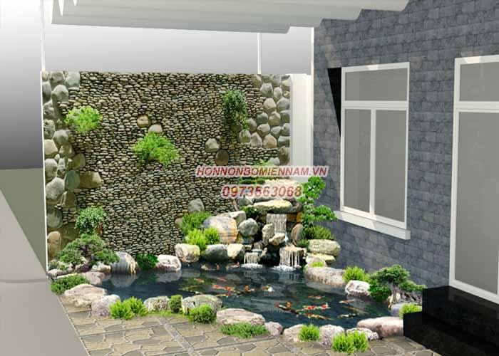 Hồ cá koi kết hợp tranh đá trên tường