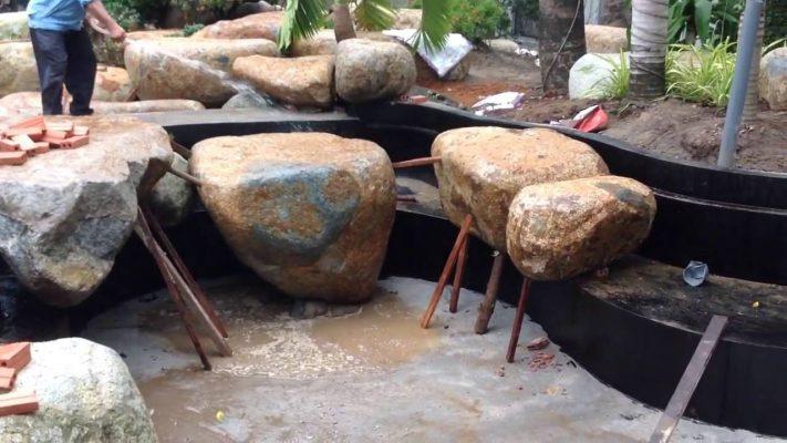 Thi công xếp đá hồ cá koi