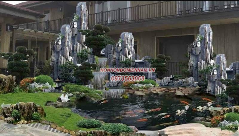 Hòn non bộ hồ cá sân vườn